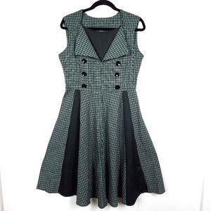 Top Melon Retro Pinup Dress Green Plaid